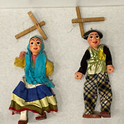 """Pair Of Vintage Marionettes Plaster And Wood Folk Art 12 1/2"""" Tall"""