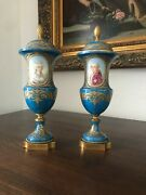 Antique Pair Of Sevres Vases Turquoise Hand Painted Porcelain King Louis Xvi And M