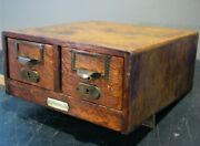 Andnbspantique 2 Drawer Oak Library Index 3 1/4 X 5 Card Catalog File Cabinet