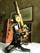 Antique J. Swift And Son Ltd Brass Microscope With Roller-stage Circa 1890 Cased