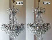 Pair Of Antique Spider Style Cast Brass And Crystals Chandelier 215-06/07