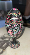 German Hand Painted Floral And Burnt Out Design Wooden Egg Cup