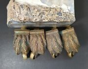 Set Of 4 Antique Vintage Heavy Duty Cast Brass Claw Foot Duncan Phyfe Casters