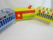 Vintage 1960's Deluxe Reading Suzy Cute Doll Lot Of Furniture Crib Dresser