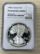 1986 S Proof American Silver Eagle Ngc Pf 69 Uc First Year Of Issue