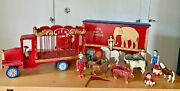 Vintage Wooden Toy Circus Wagon Hand Made, Painted Fred Reed With Animals Rare