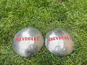Vintage Pair 2 10 Chevrolet Baby Moon Dog Dish Hubcaps