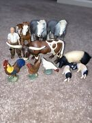 Schleich Farm Animals Toy Lot 2 Horses Pigs Chicken Roosters Steer