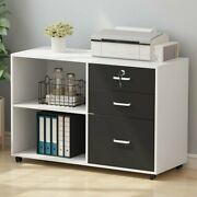 Lateral File Cabinet Lockable Partical Board 3 Drawer 2-open Shelf File Cabinet