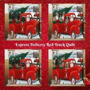 Christmas Santa Express Delivery Red Truck Dog Cat Pet Bedroom Quilt