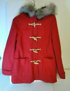 American Eagle Outfitters Womenandrsquos Hooded Red Jacket Size Medium Fur Hood Nice