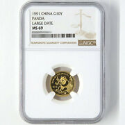 1991 China Panda 1/10oz Gold Coin Large Date G10y Ngc Ms69