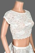 White Stretch Lace Crop Top Xs To 3xl Plus Size Shirt Sheer Lingerie See Through