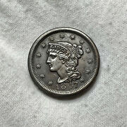 1847 Braided Hair Us Copper Large Cent 1c
