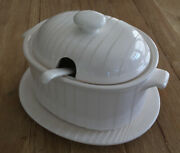 Vintage Himark Kitchen Gourmet Covered Soup Tureen W/ Ladle White Ribbed Japan