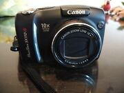 Canon Powershot Sx110 Is 9mp Digital Camera W/10x Zoom Black Tested Works Great