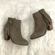 Jessica Simpson Chassie Tan Suede Fringe Block Heel Ankle Boots, Size 7