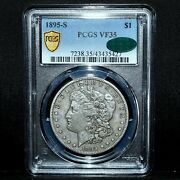 1895-s Morgan Silver Dollar ✪ Pcgs Vf-35 Cac ✪ 1 Very Fine Choice Coin◢trusted◣