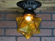 Vintage Antique Ceiling Porch Light 1930's Cast Iron Amber Glass Star Shade Ul