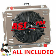4 Row Radiator+shroud Fan+relay For 70-73 Dodge Plymouth Small Block 22wide