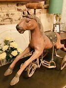 Vtg Wooden And Metal Tricycle Horse Wheels Saddle Old Rustic Barn Horse Hair Tail