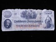 1862 Confederate States One Hundred Dollar Bill Currency Richmond Va
