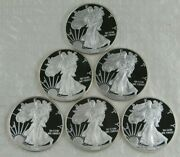 Lot Of 6 Different Proof Silver Eagles-no Ogp Or Coa's 2007-08, 2010-12, 2015