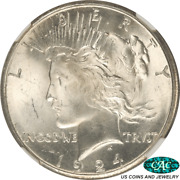 1924-s Peace Silver Dollar Ngc Ms 63 Cac - Nice White Coin