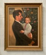Vintage Christmas Holiday Painting Father And Son Nostalgic American Art Work