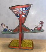 """Antique J. Chain Tin Litho Seesaw Sand Toy """"busy Mike"""""""