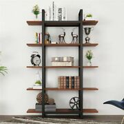 Durable 5-tier Bookcase Vintage Industrial Wood Bookshelves For Home And Office