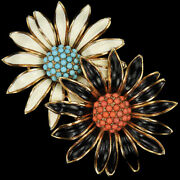Trifari Philippe Gold Coral And Turquoise White And Black Sunflowers Flower Pin Clip
