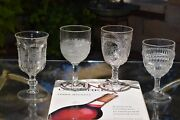 4 Antique Pressed Glass Wine Glasses, 4 Mis-matched Epag - Indiana Glass