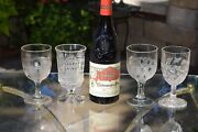 4 Antique Pressed Glass Wine Glasses, Boston Silver, C 1869, 4 Mis-matched Epag