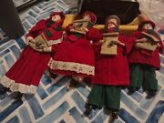 Vintage 4 Red Victorian Christmas Carolers Ornaments Mom Dad Son And Daughter