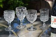 4 Antique Pressed Glass Wine Glasses, Bryce, C. 1905, 4 Mis-matched Epag