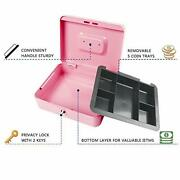 Kyodoled Large Metal Cash Box With Money Tray And Lockmoney Box With Cash Tray