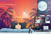 3d Palm Sunset Silhouette Wallpaper Wall Mural Removable Self-adhesive Sticker12