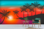 3d Sunset Palm Silhouette Wallpaper Wall Mural Removable Self-adhesive Sticker11