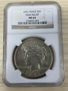 1921 1 Peace Silver Dollar Ngc Ms 64 Key Date First Year Of Issue