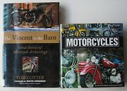 2 Books The Vincent In The Barn Tom Cotter And Motorcycles Consumer Guide Hc Dj Q