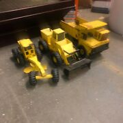 3 Vintage Mighty Tonka Construction Vehicles Loader Dump Grader All For 1 Price