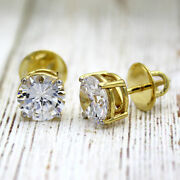5 Tcw Classic Round Moissanite Stud Earrings 22kt Gold Plated Sterling Silver