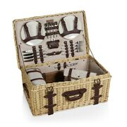 Picnic Time Charleston Picnic Basket For 4 Light Willow Wicker Wine Duffle