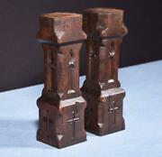 14 Pair Of French Antique Solid Oak Gothic Posts/pillars/columns/balusters
