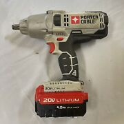 Porter Cable Pcc740 1/2 Drive 20v Cordless Impact Wrench W/4.0ah Battery