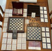Vintage Franklin Mint Original Civil War Chess And Checkers W/ Both Playing Boards