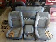 80 86 Ford Bronco Front And Rear Seats With Center Console Blue Used 78 79