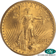 1911-d St. Gaudens 20 Gold Double Eagle Pcgs Ms64 Cac - Very Nice