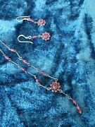 16 Deep Pink Crystal Drop Necklace W/ Matching Earrings